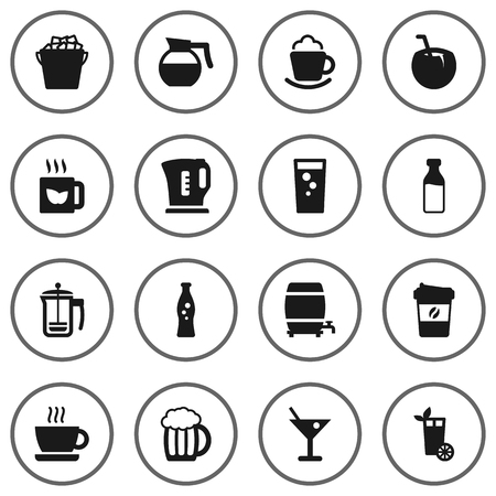 refrigerator: Set Of 16 Beverages Icons Set.Collection Of Cream, Fridge, Teapot And Other Elements.