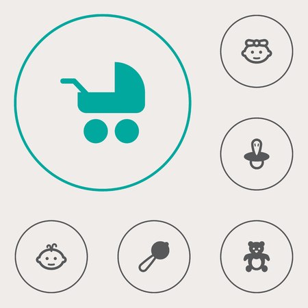 Set Of 6 Baby Icons Set.Collection Of Teat, Girl, Baby And Other Elements.
