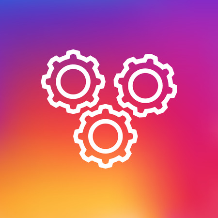 Isolated Gear Outline Symbol On Clean Background. Vector Working Process Element In Trendy Style.
