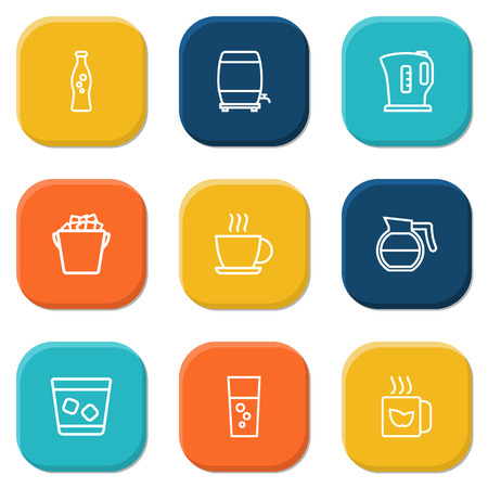 ice tea: Set Of 9 Beverages Outline Icons Set.Collection Of Fizzy Water, Coffeepot, Whiskey And Other Elements.
