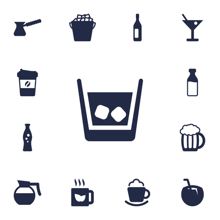 refrigerator: Set Of 13 Drinks Icons Set.Collection Of Wine, Cream, Martini And Other Elements. Illustration