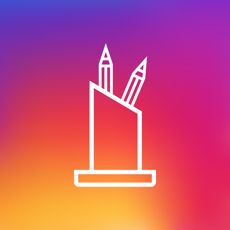Isolated Pencil Stand Outline Symbol On Clean Background Illustration