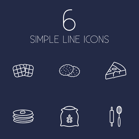 Set Of 6 Pastry Outline Icons Set