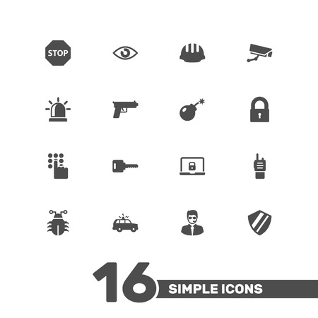 wireless icon: Set Of 16 Safety Icons Set Illustration