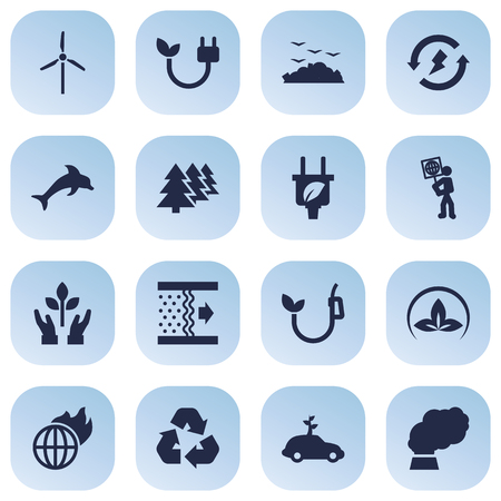 Set Of 16 Bio Icons Set Иллюстрация