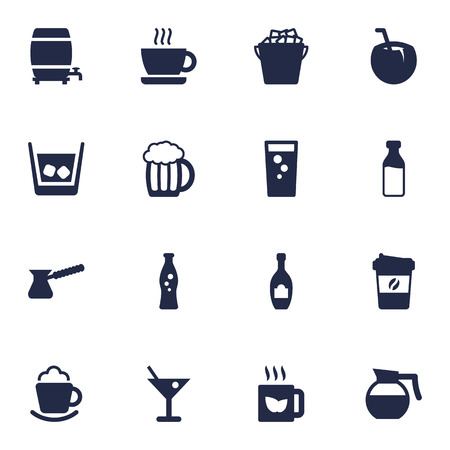 ferment: Set Of 16 Beverages Icons Set.Collection Of Alcohol, Mug, Fridge And Other Elements.