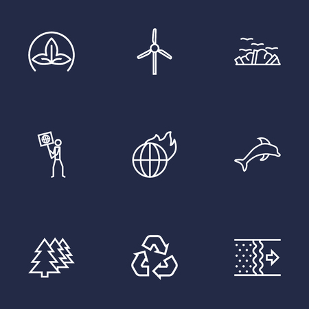 Set Of 9 Bio Outline Icons Set.Collection Of Garbage, Ecologist, Afforestation And Other Elements. Ilustrace