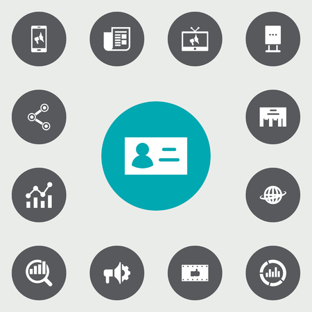 ceo: Set Of 13 Commercial Icons Set.Collection Of Application, Market, Inbox And Other Elements.