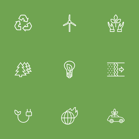 Set Of 9 Ecology Outline Icons Set.Collection Of Ecol, Recycling, Wind Turbine And Other Elements.