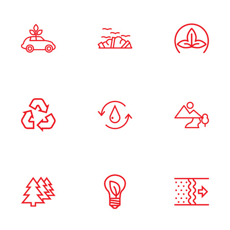 Set Of 9 Bio Outline Icons Set.Collection Of Ecol, Eco, Water And Other Elements. Ilustrace