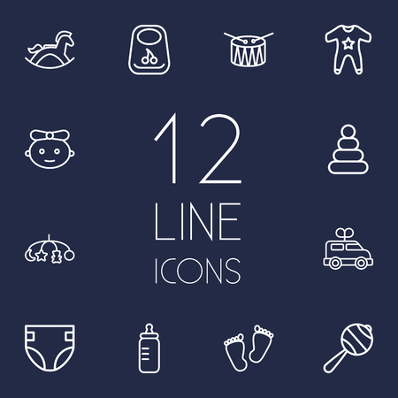 Set Of 12 Baby Outline Icons Set Illustration