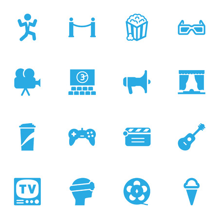 prestige: Set Of 16 Amusement Icons Set.Collection Of Spectacles, Megaphone, Sorbet And Other Elements. Illustration
