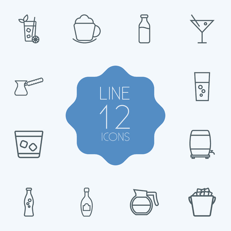 ferment: Set Of 12 Drinks Outline Icons Set.Collection Of Whiskey, Coffee, Pot And Other Elements.