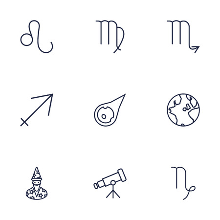 astrologer: Set Of 9 Galaxy Outline Icons Set.Collection Of Sagittarius, Virgo, Globe And Other Elements. Illustration
