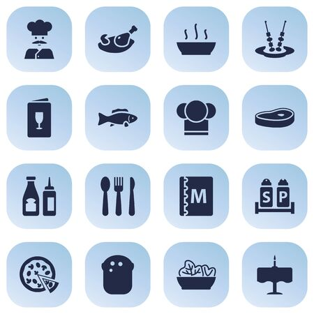 grain: Set Of 16 Bar Icons Set.Collection Of Silverware, Pepperoni, Cook And Other Elements.