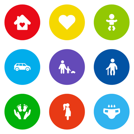 incontinence: Set Of 9 Relatives Icons Set.Collection Of Look After, Nappy, Automobile And Other Elements. Illustration