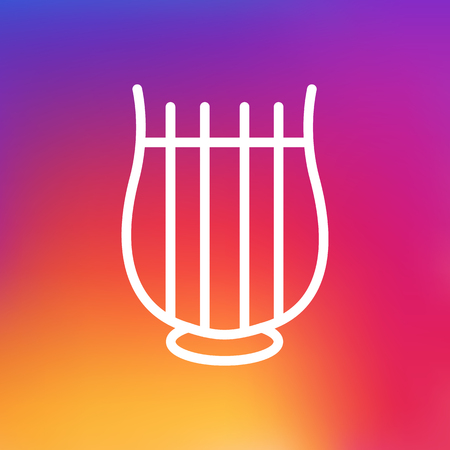 Isolated Harp Outline Symbol On Clean Background. Vector Stringed Element In Trendy Style.