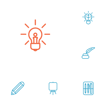 Set Of 6 Constructive Outline Icons Set.Collection Of Brain, Easel, Drawing Tools And Other Elements. Illustration