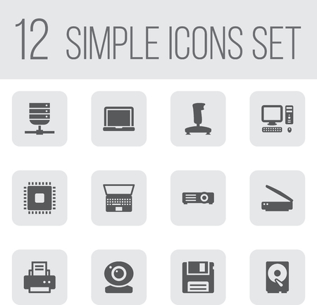 Set Of 12 Computer Icons Set.Collection Of Notebook, Microprocessor, Laptop And Other Elements. Illustration