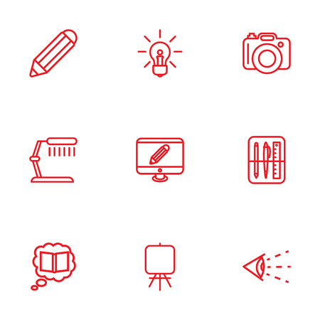 spotlight: Set Of 9 Creative Outline Icons Set.Collection Of Pencil, Table Lamp, Vision And Other Elements.
