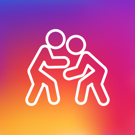 Isolated Wrestling Outline Symbol On Clean Background. Vector Fight Element In Trendy Style.
