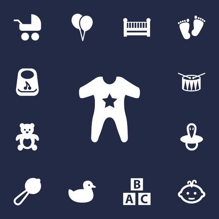 Satz von 13 Kinderikonen eingestellt Sammlung von Zitze, Maraca, Kittel und anderen Elementen. Standard-Bild - 82370780