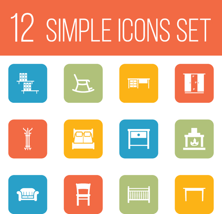 kitchen cabinets: Set Of 12 Decor Icons Set.Collection Of Stool, Coat Stand, Cupboard Elements. Illustration