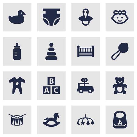 Set Of 16 Kid Icons Set