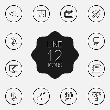 Set Of 12 Constructive Outline Icons Set Çizim