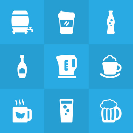 ferment: Set Of 9 Drinks Icons Set.Collection Of Soda, Electric Teapot, Espresso And Other Elements.