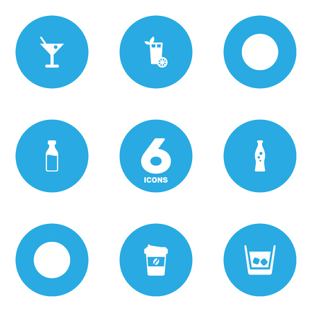 Set Of 6 Beverages Icons Set.Collection Of Cognac, Martini, Espresso And Other Elements. Illustration