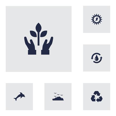 Set Of 6 Atmosphere Icons Set Illustration