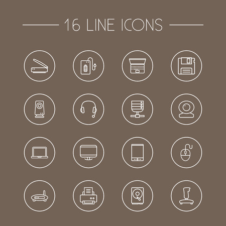 Set Of 16 Notebook Outline Icons Set.Collection Of Speaker, Powerbank, Printer And Other Elements. Illustration