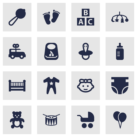 Set Of 16 Kid Icons Set.Collection Of Decoration, Teat, Bear And Other Elements.