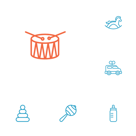 horse care: Set Of 6 Kid Outline Icons Set.Collection Of Rattles, Rocking Horse, Clockwork Car And Other Elements.