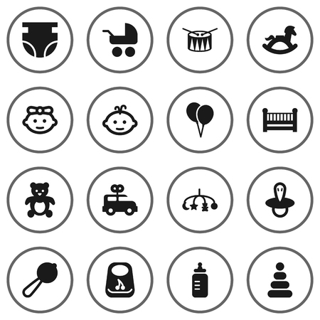 Set Of 16 Kid Icons Set.Collection Of Pram, Breastplate, Hangings And Other Elements.