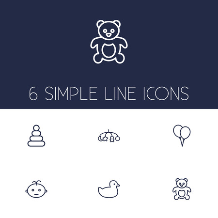 Set Of 6 Child Outline Icons Set.Collection Of Toys, Boy, Balloon And Other Elements.