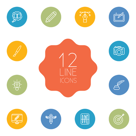 Set Of 12 Creative Outline Icons Set