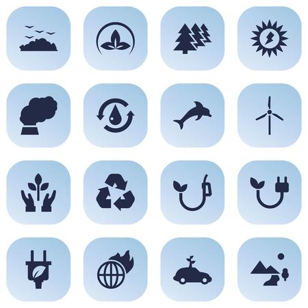 truck: Set Of 16 Bio Icons Set Illustration