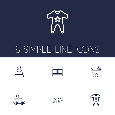 Set Of 6 Child Outline Icons Set.Collection Of Smock, Crib, Carriage And Other Elements. Illustration