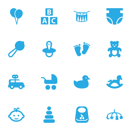Set Of 16 Child Icons Set.Collection Of Teat, Toy, Pram And Other Elements. Ilustracja