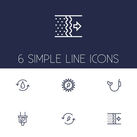 repetition: Set Of 6 Ecology Outline Icons Set
