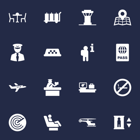 Set Of 16 Airplane Icons Set.Collection Of Chopper, Data, Aviator And Other Elements.