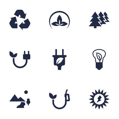 Set Of 9 Bio Icons Set.Collection Of Saving, Reforestation, Nature And Other Elements.