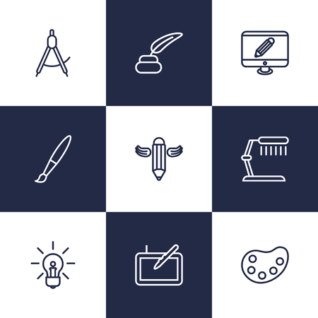 illuminator: Set Of 9 Creative Outline Icons Set.Collection Of Inkwell With Pen, Paintbrush, Palette And Other Elements.