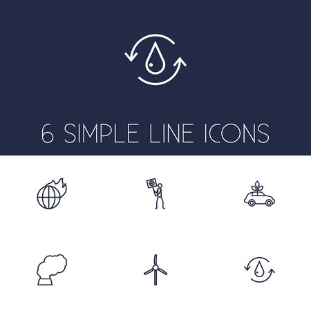 Set Of 6 Atmosphere Outline Icons Set.Collection Of Ecol, Water, Global Warming And Other Elements. Illustration