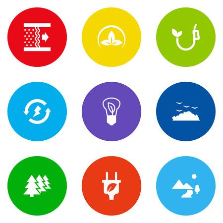 Set Of 9 Ecology Icons Set