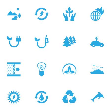 Set Of 16 Ecology Icons Set Illustration