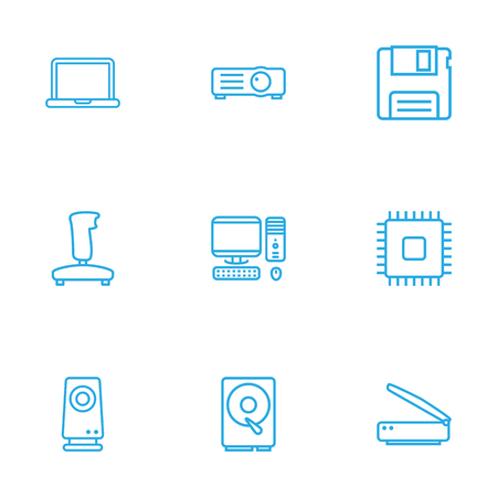 amplification: Set Of 9 Computer Outline Icons Set.Collection Of Notebook, Hdd, Gamepad And Other Elements. Illustration