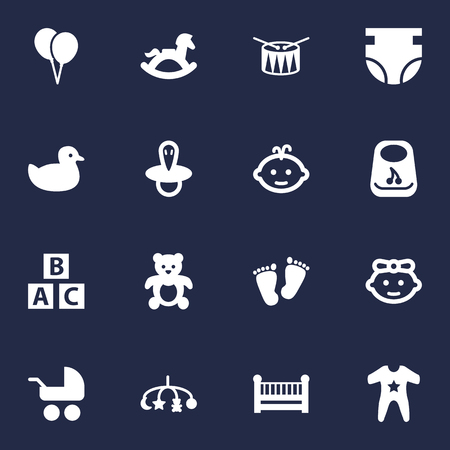 Set Of 16 Kid Icons Set